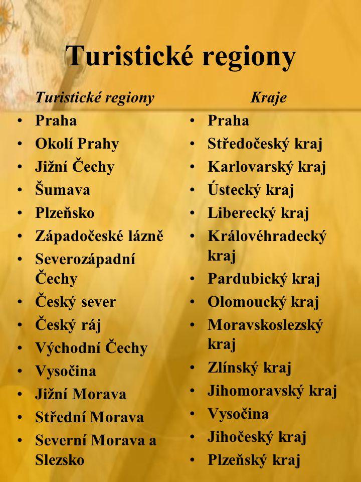 Turistické regiony Turistické regiony Praha Okolí Prahy Jižní Čechy
