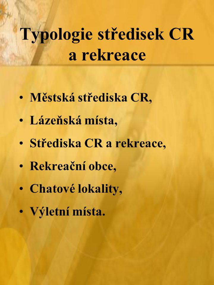 Typologie středisek CR a rekreace
