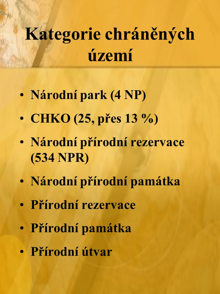 Kategorie chráněných území