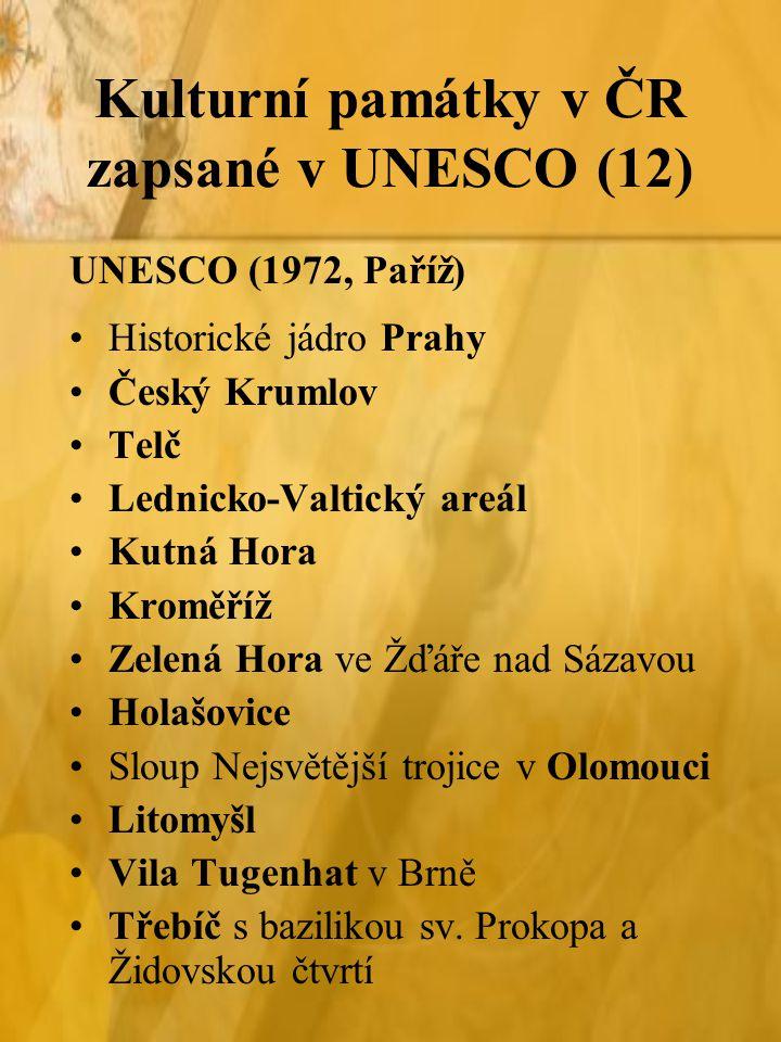 Kulturní památky v ČR zapsané v UNESCO (12)