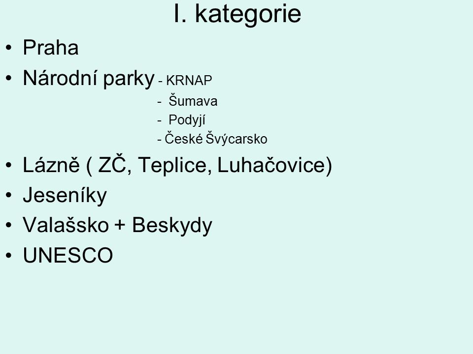I. kategorie Praha Národní parky - KRNAP