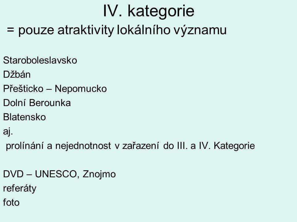 IV. kategorie = pouze atraktivity lokálního významu Staroboleslavsko