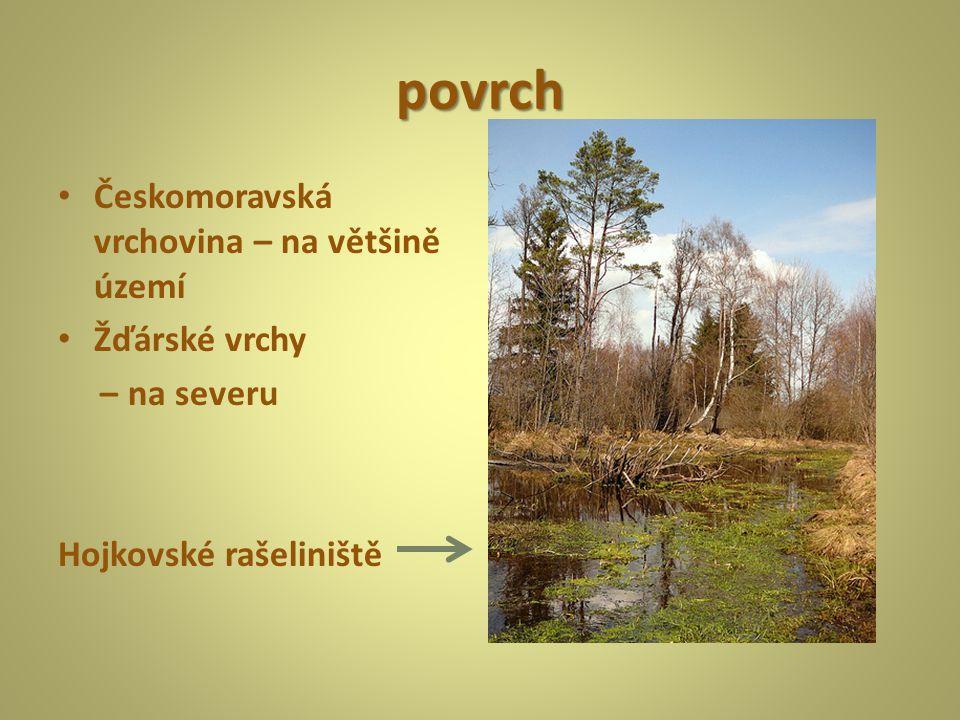 povrch Českomoravská vrchovina – na většině území Žďárské vrchy