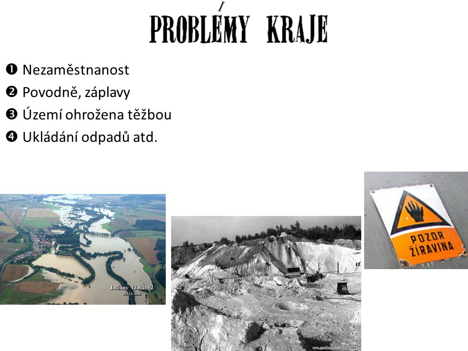 Nezaměstnanost Povodně, záplavy  Území ohrožena těžbou  Ukládání odpadů atd.