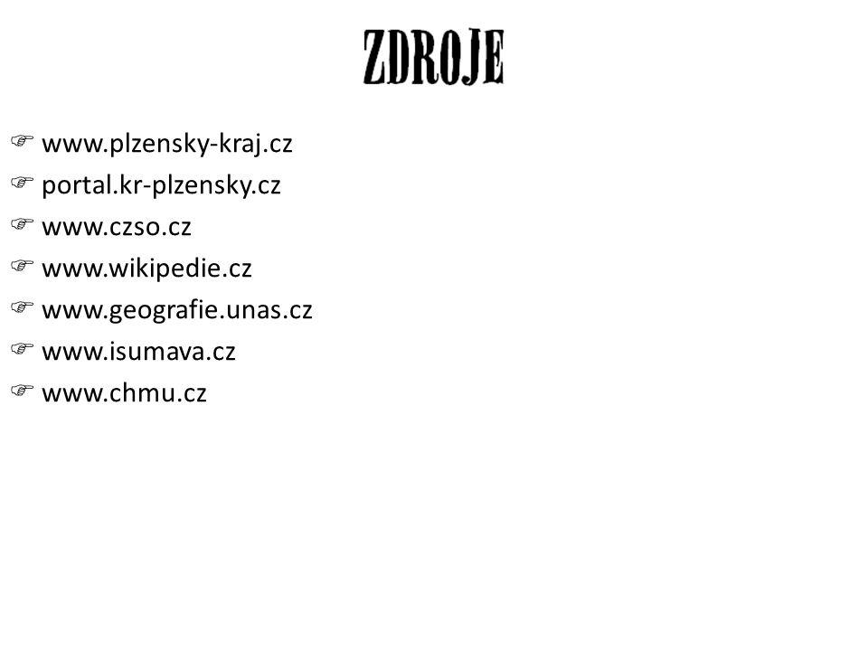 www.plzensky-kraj.cz portal.kr-plzensky.cz. www.czso.cz. www.wikipedie.cz. www.geografie.unas.cz.