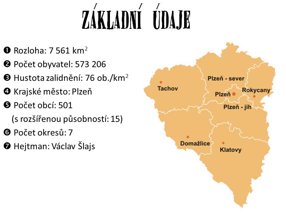 Rozloha: 7 561 km2 Počet obyvatel: 573 206.  Hustota zalidnění: 76 ob./km2. Krajské město: Plzeň.