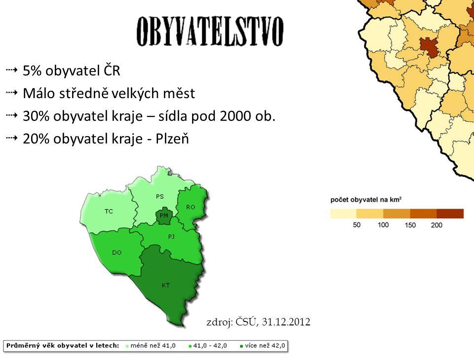 5% obyvatel ČR Málo středně velkých měst. 30% obyvatel kraje – sídla pod 2000 ob. 20% obyvatel kraje - Plzeň.