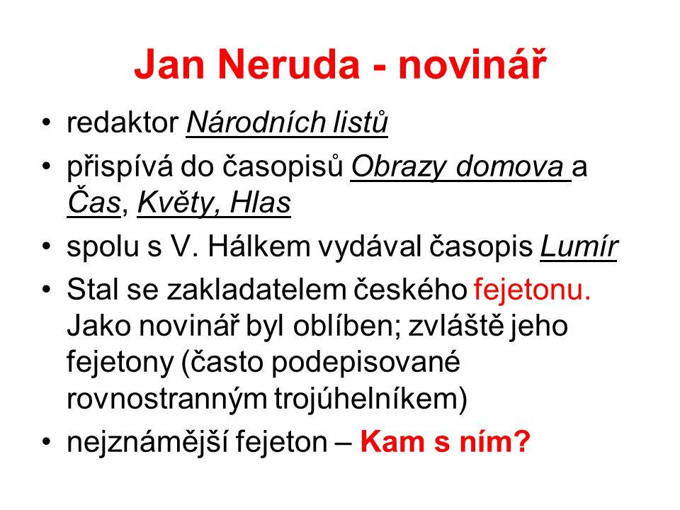 Jan Neruda - novinář redaktor Národních listů