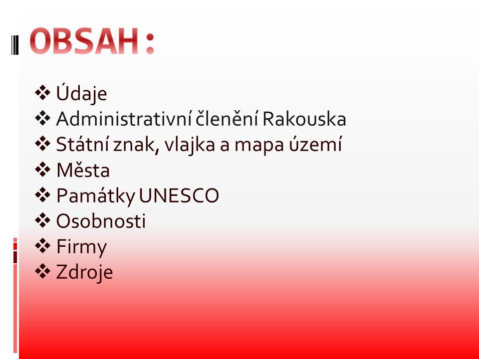 OBSAH: Údaje Administrativní členění Rakouska