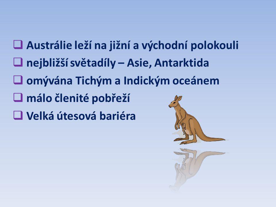 Austrálie leží na jižní a východní polokouli
