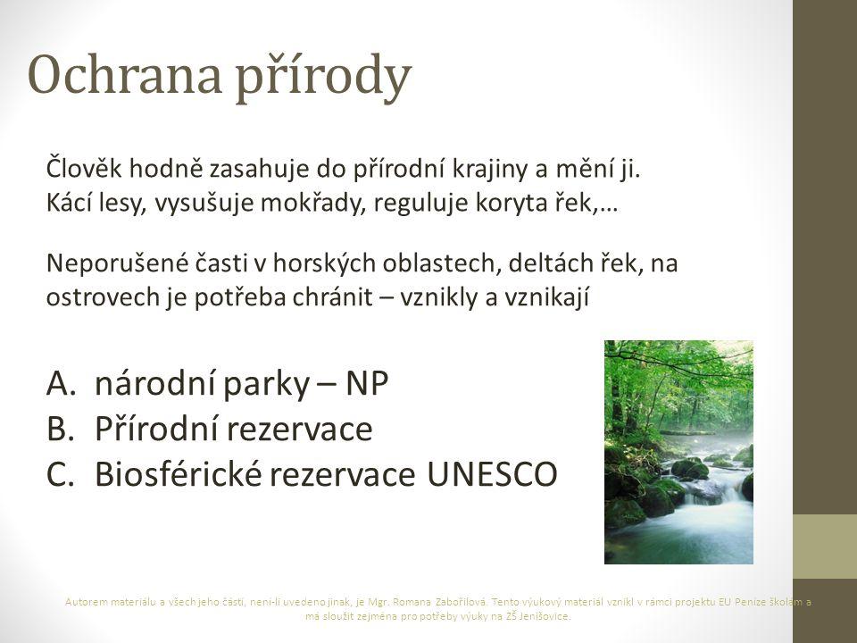 Ochrana přírody národní parky – NP Přírodní rezervace