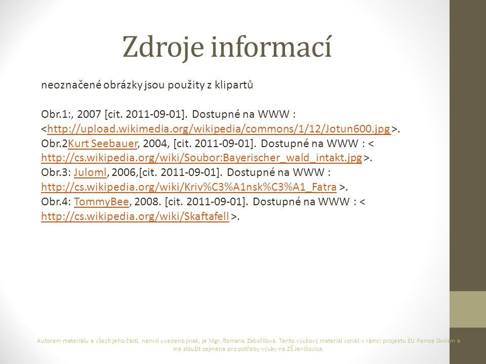 Zdroje informací neoznačené obrázky jsou použity z klipartů