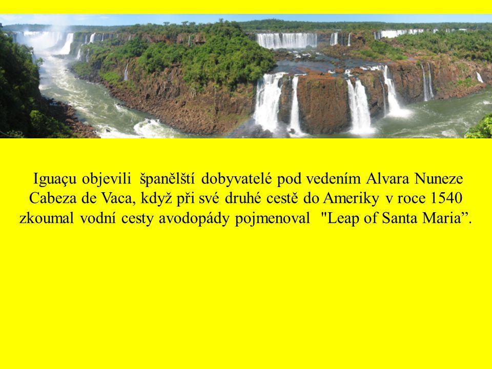 Iguaçu objevili španělští dobyvatelé pod vedením Alvara Nuneze Cabeza de Vaca, když při své druhé cestě do Ameriky v roce 1540 zkoumal vodní cesty avodopády pojmenoval Leap of Santa Maria .