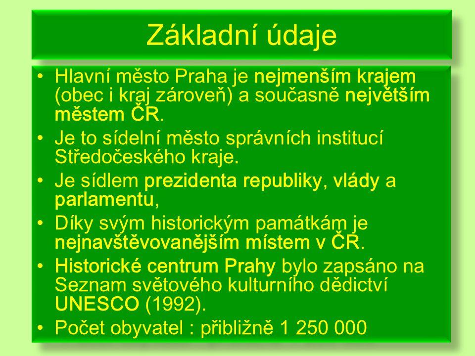 Základní údaje Hlavní město Praha je nejmenším krajem (obec i kraj zároveň) a současně největším městem ČR.