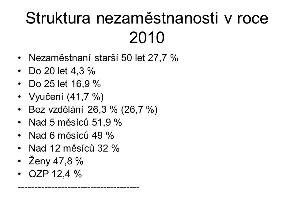 Struktura nezaměstnanosti v roce 2010