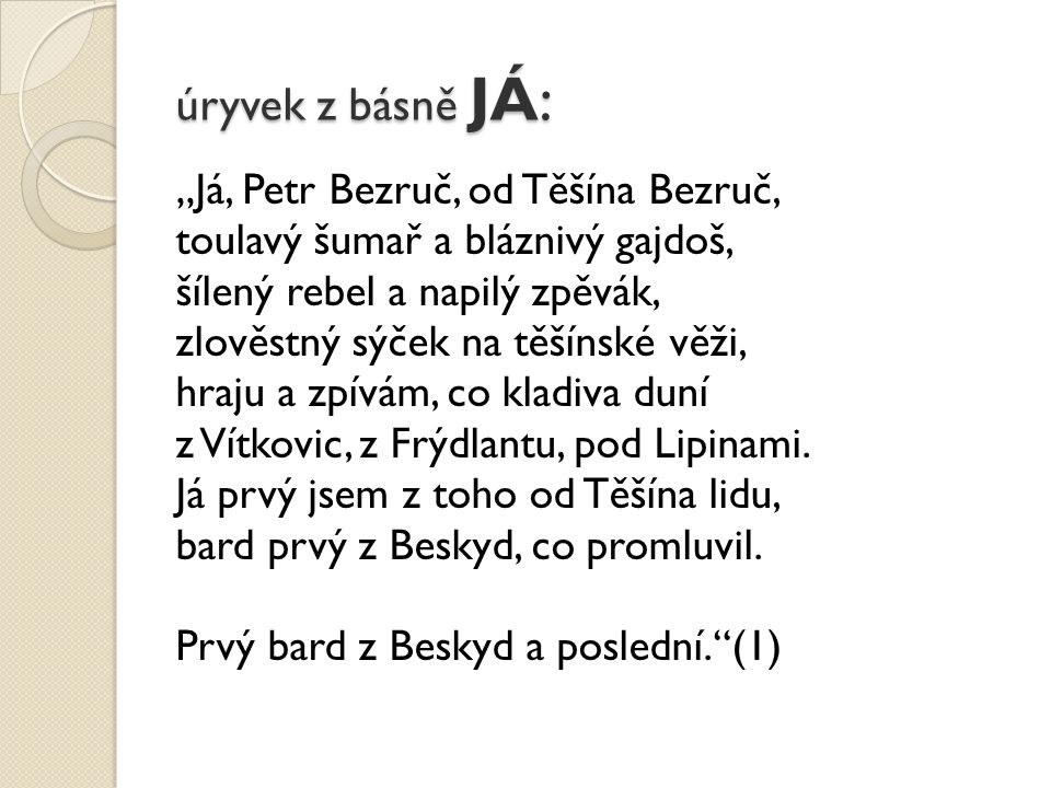 úryvek z básně JÁ: