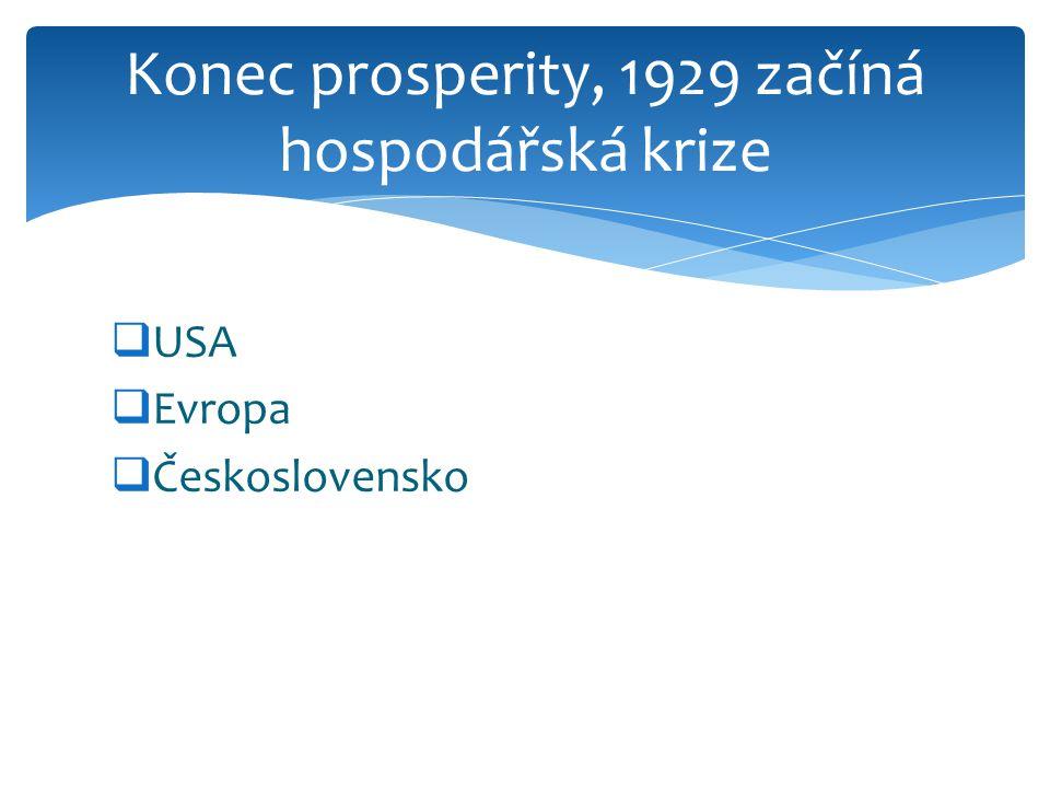 Konec prosperity, 1929 začíná hospodářská krize