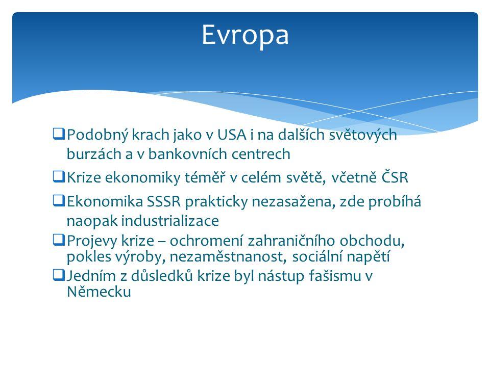 Evropa Podobný krach jako v USA i na dalších světových burzách a v bankovních centrech. Krize ekonomiky téměř v celém světě, včetně ČSR.