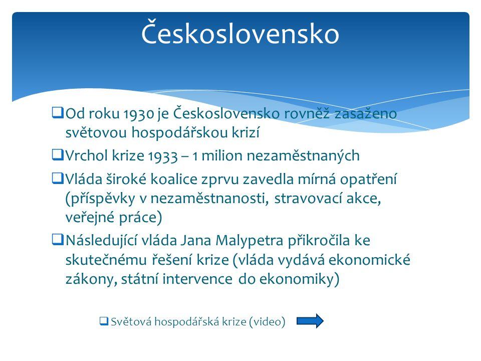 Československo Od roku 1930 je Československo rovněž zasaženo světovou hospodářskou krizí. Vrchol krize 1933 – 1 milion nezaměstnaných.
