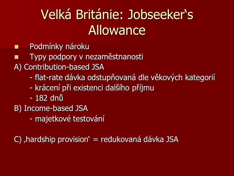 Velká Británie: Jobseeker's Allowance