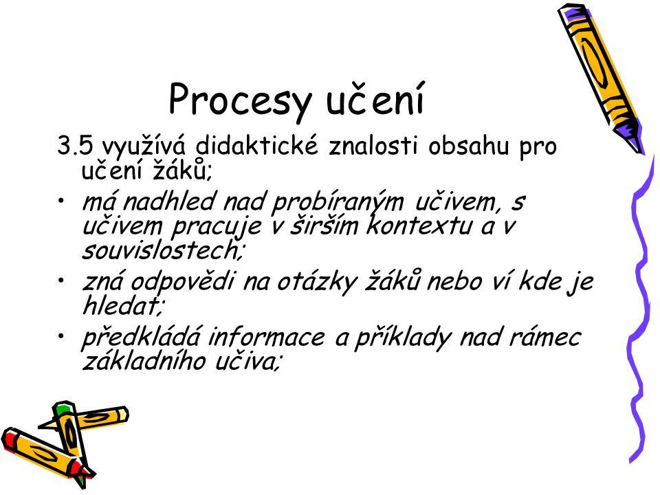 Procesy učení 3.5 využívá didaktické znalosti obsahu pro učení žáků;