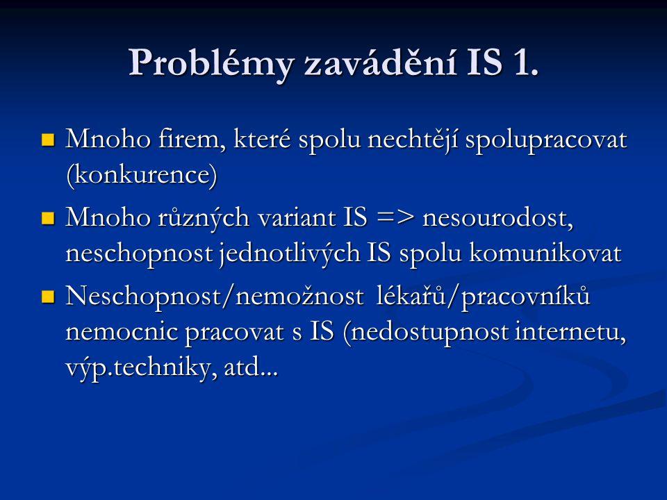 Problémy zavádění IS 1. Mnoho firem, které spolu nechtějí spolupracovat (konkurence)