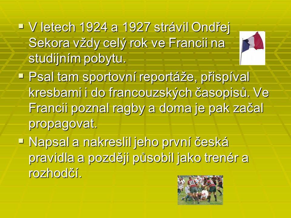 V letech 1924 a 1927 strávil Ondřej Sekora vždy celý rok ve Francii na studijním pobytu.