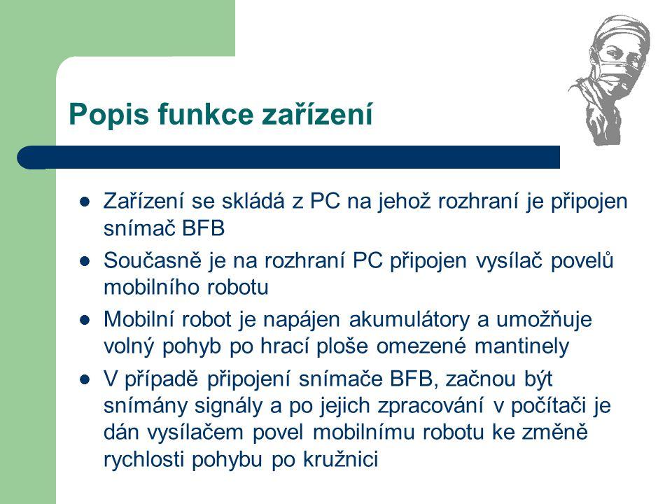 Popis funkce zařízení Zařízení se skládá z PC na jehož rozhraní je připojen snímač BFB.
