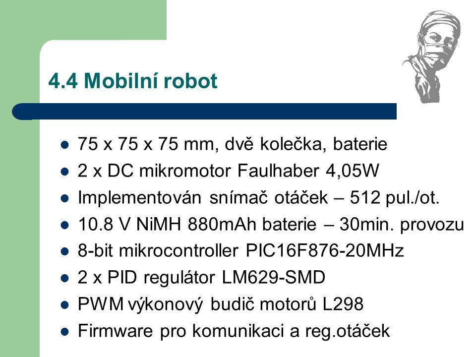 4.4 Mobilní robot 75 x 75 x 75 mm, dvě kolečka, baterie