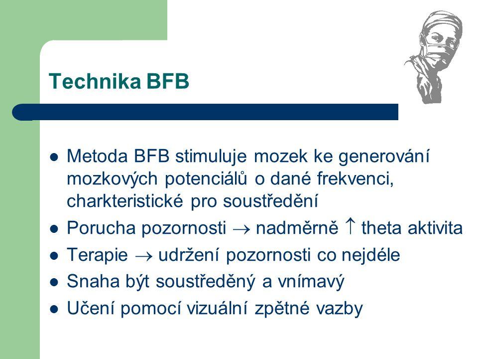 Technika BFB Metoda BFB stimuluje mozek ke generování mozkových potenciálů o dané frekvenci, charkteristické pro soustředění.