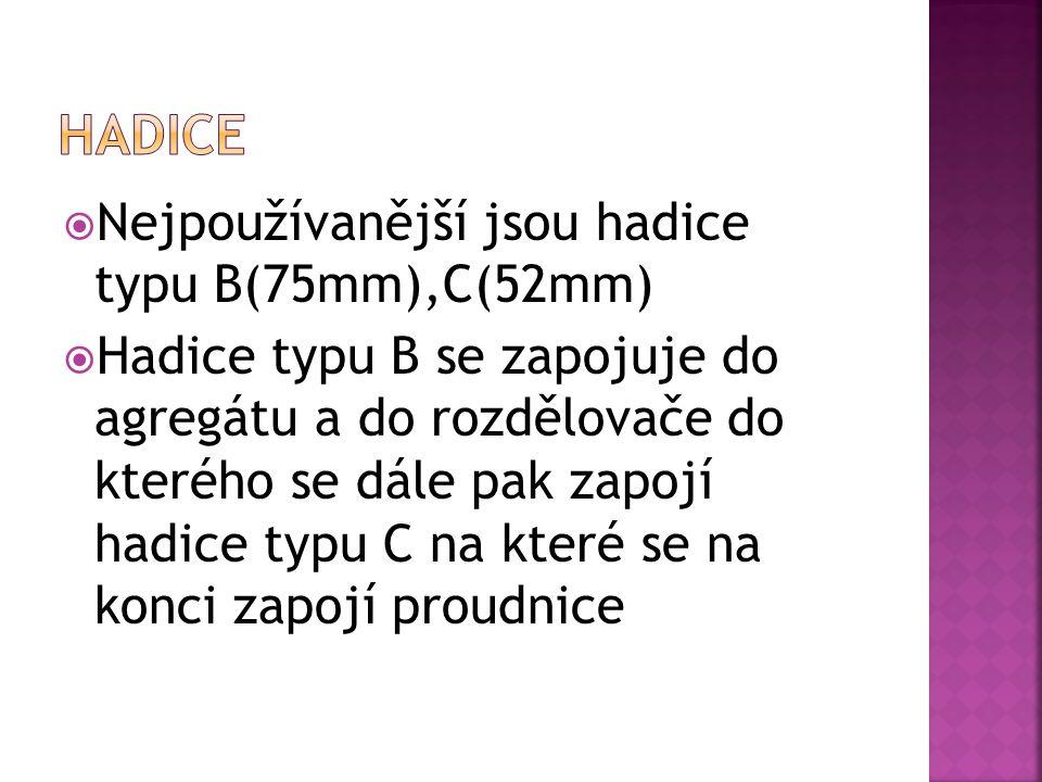 Hadice Nejpoužívanější jsou hadice typu B(75mm),C(52mm)