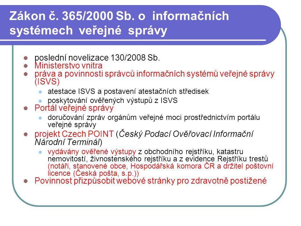 Zákon č. 365/2000 Sb. o informačních systémech veřejné správy