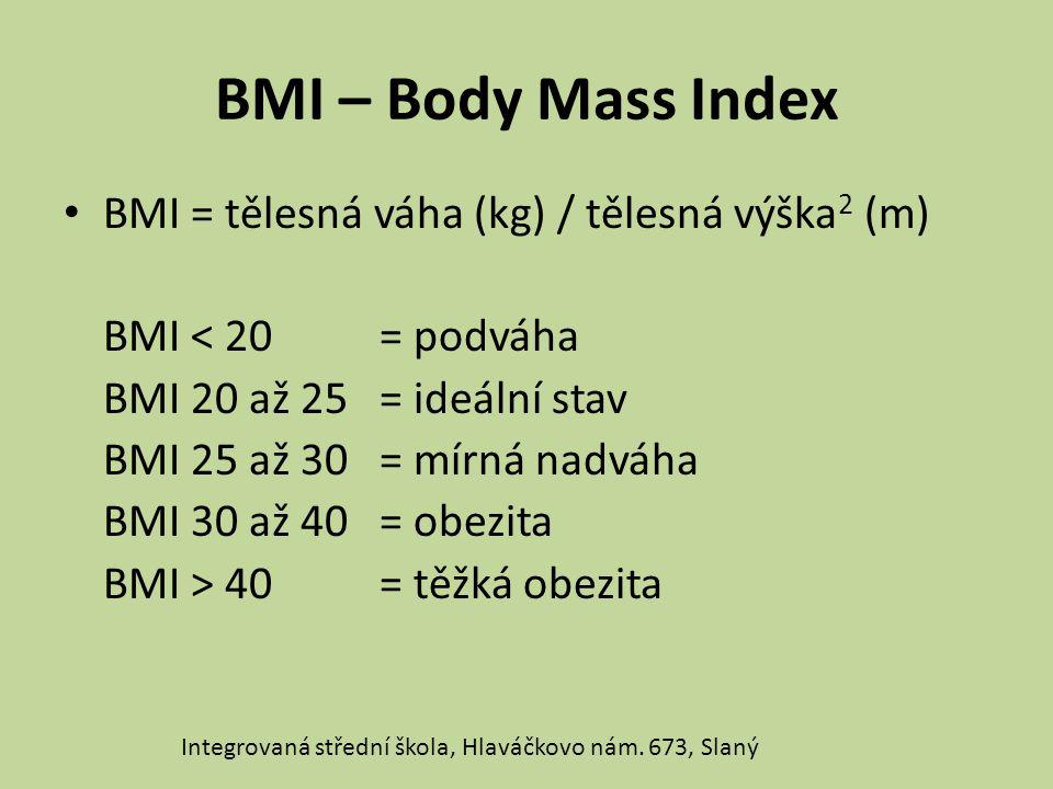 BMI – Body Mass Index BMI = tělesná váha (kg) / tělesná výška2 (m)