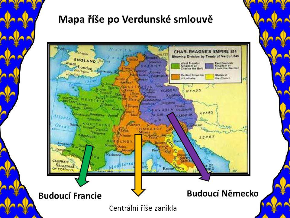 Mapa říše po Verdunské smlouvě