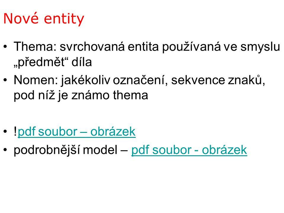 """Nové entity Thema: svrchovaná entita používaná ve smyslu """"předmět díla. Nomen: jakékoliv označení, sekvence znaků, pod níž je známo thema."""