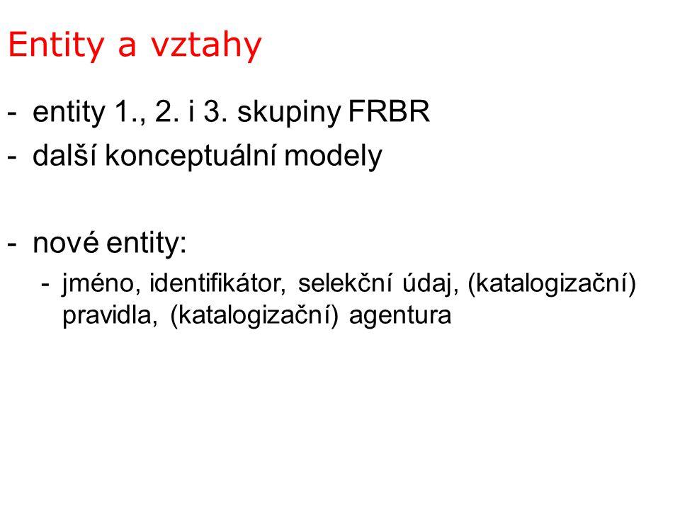 Entity a vztahy entity 1., 2. i 3. skupiny FRBR