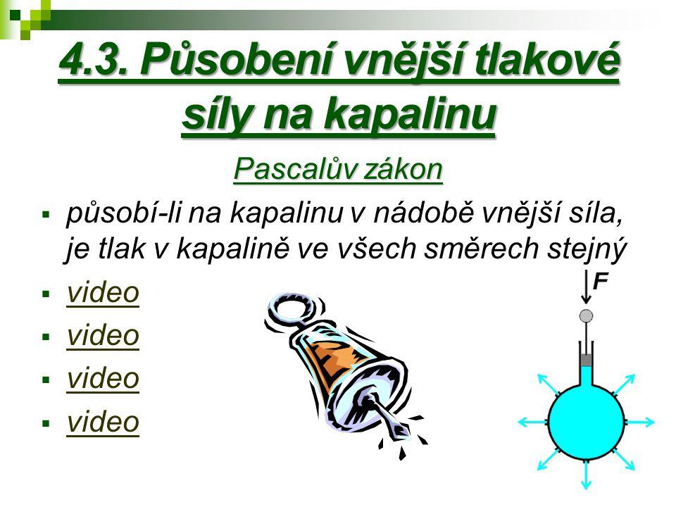 4.3. Působení vnější tlakové síly na kapalinu