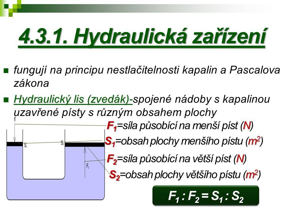 4.3.1. Hydraulická zařízení F1 : F2 = S1 : S2