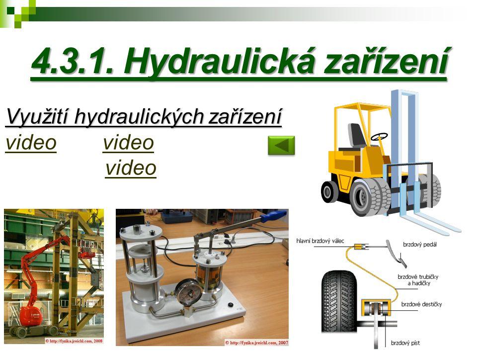 4.3.1. Hydraulická zařízení Využití hydraulických zařízení video video