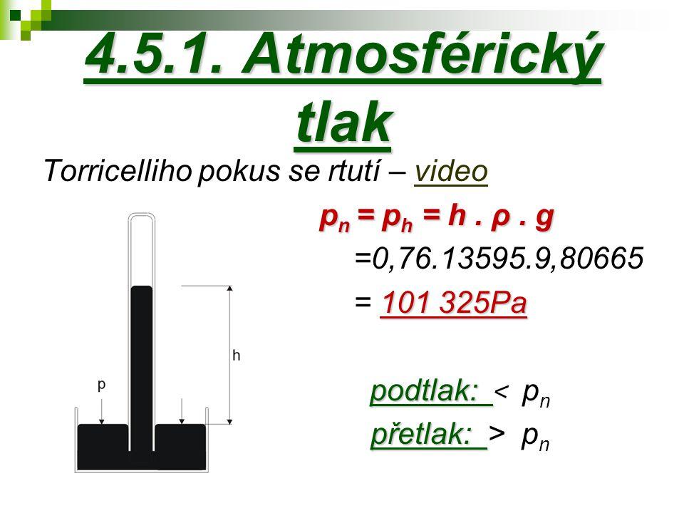 4.5.1. Atmosférický tlak Torricelliho pokus se rtutí – video pn = ph = h .