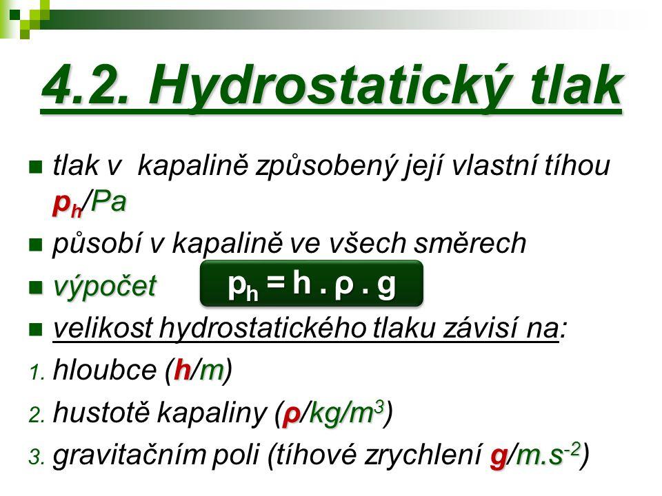 4.2. Hydrostatický tlak ph = h . ρ . g
