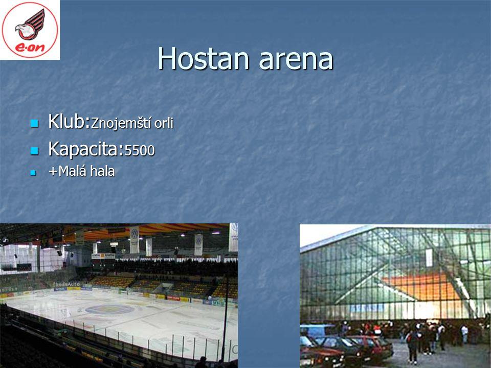 Hostan arena Klub:Znojemští orli Kapacita:5500 +Malá hala
