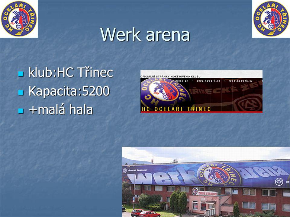 Werk arena klub:HC Třinec Kapacita:5200 +malá hala