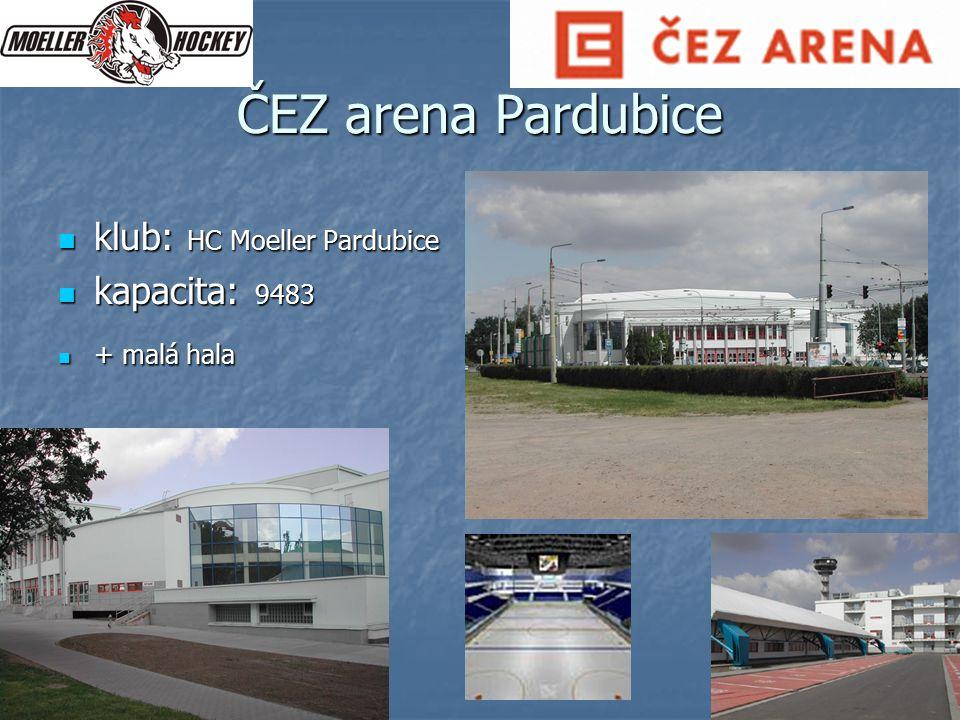 ČEZ arena Pardubice klub: HC Moeller Pardubice kapacita: 9483