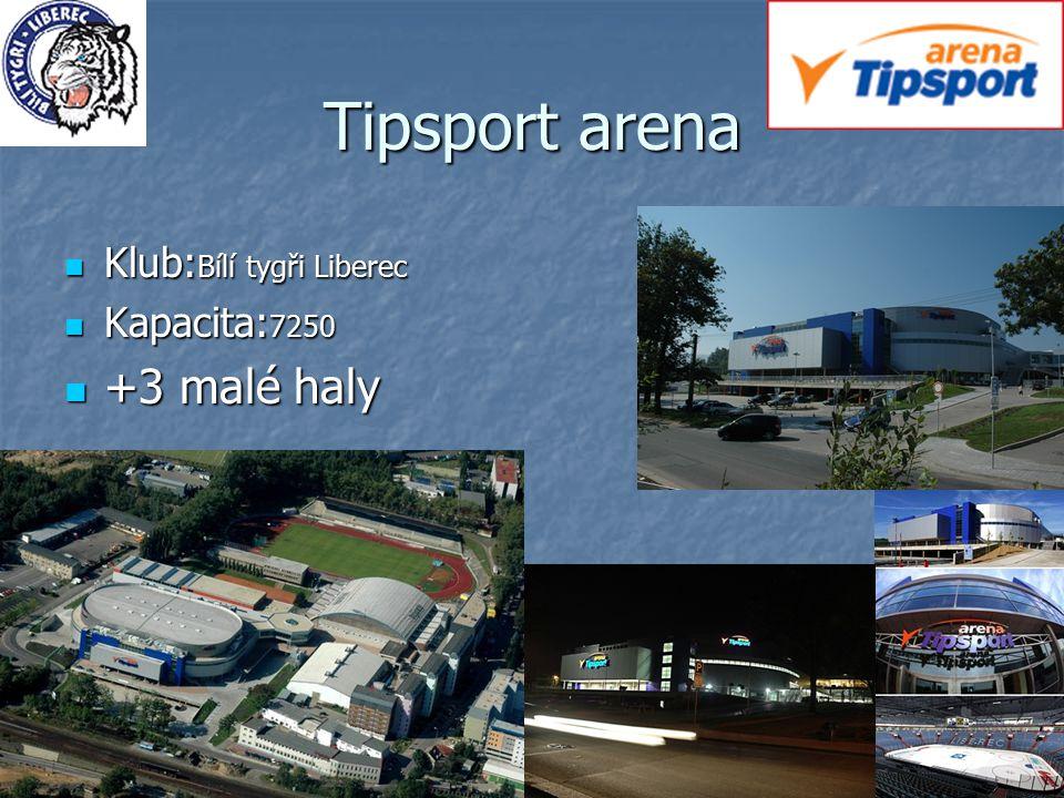 Tipsport arena Klub:Bílí tygři Liberec Kapacita:7250 +3 malé haly