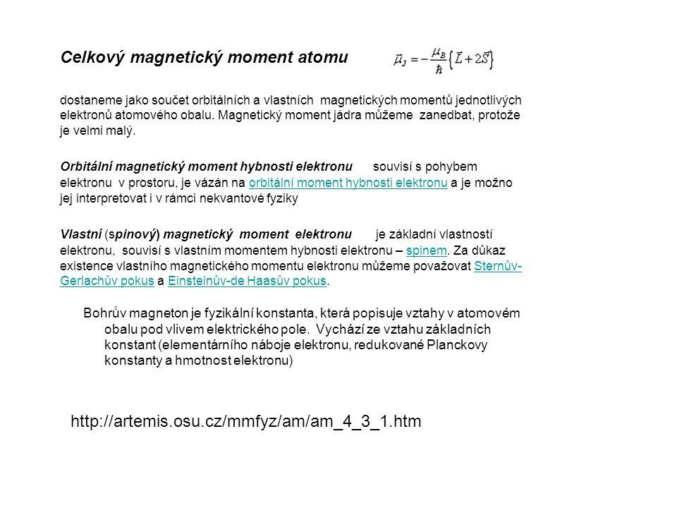 Celkový magnetický moment atomu