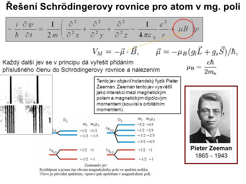 Řešení Schrödingerovy rovnice pro atom v mg. poli