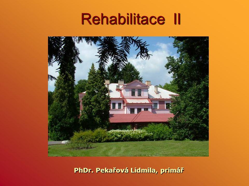 Rehabilitace II PhDr. Pekařová Lidmila, primář