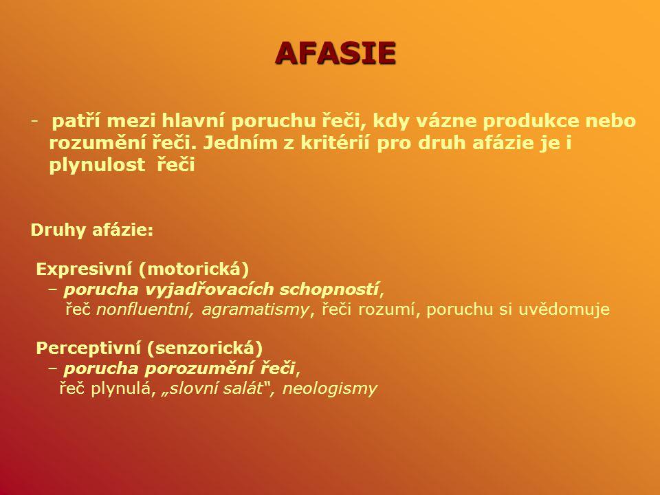 AFASIE patří mezi hlavní poruchu řeči, kdy vázne produkce nebo