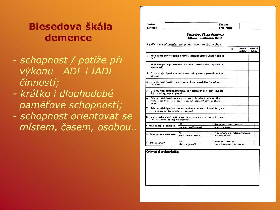 Blesedova škála demence. - schopnost / potíže při. výkonu ADL i IADL. činností; - krátko i dlouhodobé.